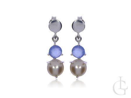 Wiszące kolczyki na wkrety ze srebra pr.0,925 z topazami i perłami naturalnymi