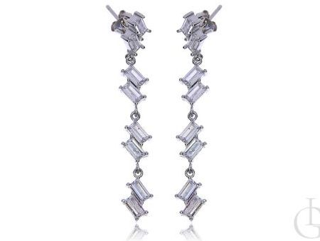 Wiszące kolczyki na wkręty srebro rodowane pr.0,925 z cyrkoniami