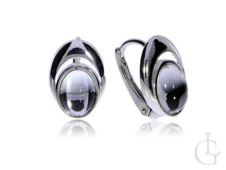 Kolczyki srebrne pr.0,925 na zatrzask z przezroczystym kryształkiem