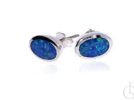 Srebrne kolczyki pr.0,925 na sztyft opal błękitny