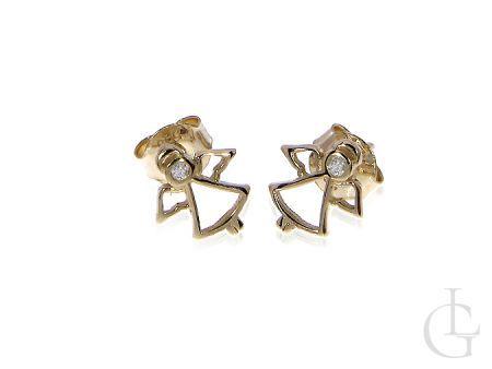 Kolczyki ze złota pr.0,585 na wkręty aniołki
