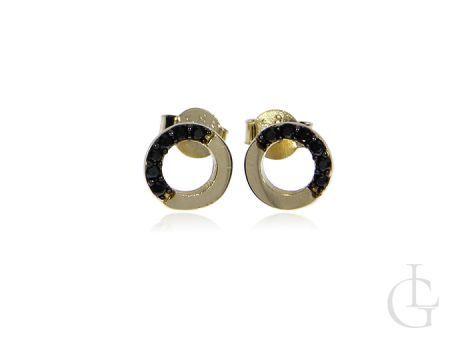 Złote kolczyki na wkręty pr.0,585 kółeczka z czarnymi cyrkoniami