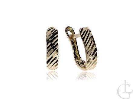 Złote kolczyki diamentowane pr.0,585 angielskie zapięcia