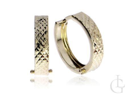 Kolczyki koła złoto pr.0,585 diamentowane i gładkie