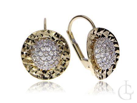 Efektowne kolczyki ze złota pr.0,585 z cyrkoniami i diamentowanym wykończeniem na prezent