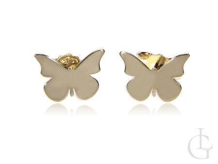 Złote kolczyki pr.0,585 na wkręty cudowne motylki