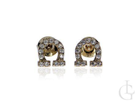 Złote kolczyki pr.0,585 podkowy z cyrkoniam na szczęście