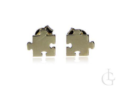 Kolczyki złote pr.0,585 puzzle na prezent