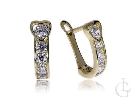 Złote kolczyki pr.0,585 angielskie zapięcia z cyrkoniami serduszka na prezent