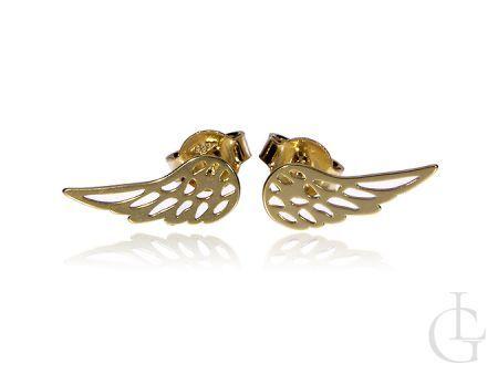 Złote kolczyki na wkręty pr.0,585 skrzydła