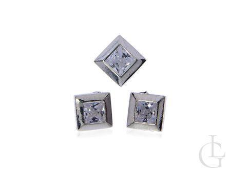 Kolczyki na wkręty kwadraty i zawieszka z cyrkoniami komplet biżuterii
