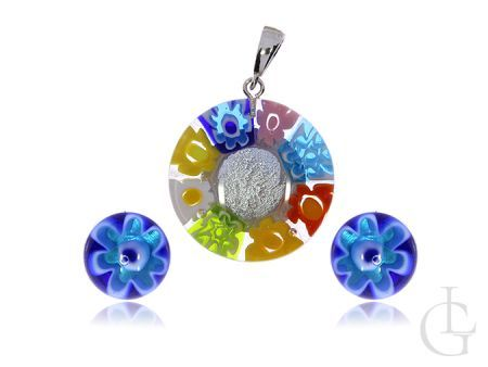 Kolorowy komplet biżuterii srebro pr.0,925 i szkło weneckie Murano Glass Kolczyki sztyfty zawieszka