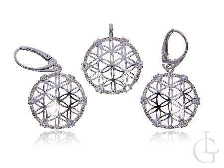 Komplet biżuterii ze srebra pr.0,925 wiszące kolczyki wisiorek