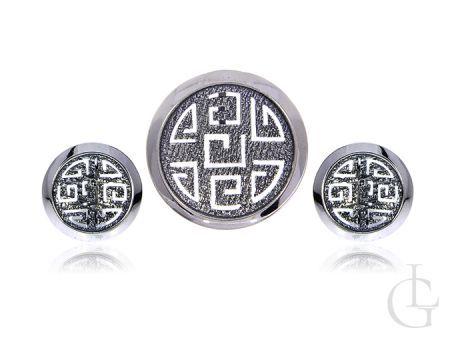 Kolczyki angielskie zapięcia i wisior srebro rodowane pr.0,925