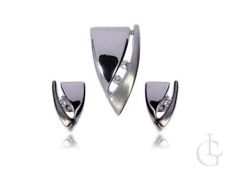 Srebro rodowane z cyrkoniami komplet biżuterii kolczyki wkręty i wisiorek
