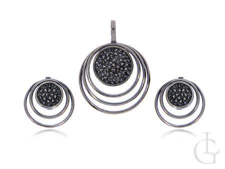 Komplet biżuterii ze srebra rodowanego pr.0,925 z oksydą