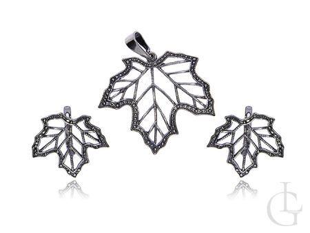 Komplet biżuterii srebro rodowane i oksydowane pr.0,925 liść klonu