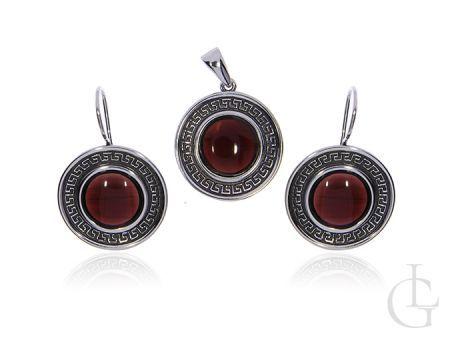 Komplet biżuterii srebrnej pr.0,925 kolczyki wisior z greckim wzorem