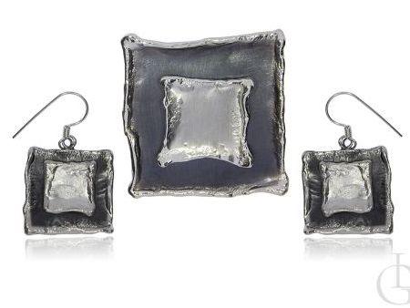 Komplet biżuterii ze srebra rodowanego i oksydowanego pr.0,926