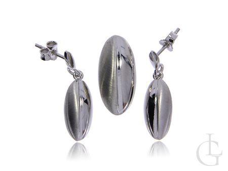 Komplet biżuterii ze srebra pr.0,925 wiszące kolczyki na wkręty i zawieszka
