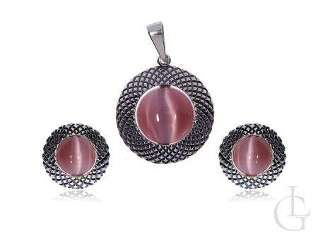 Srebrna biżuteria kolczyki angielskie zapięcia wisior srebro pr.0,925 z różowym uleksitem