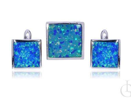 Biżuteria damska kolczyki angielskie zapięcia wisiorek z opalem błękitnym srebro rodowane pr.0,925