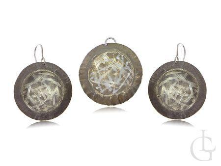 Komplet biżuterii srebrnej kolczyki kółka wisiorek kółko srebro 925