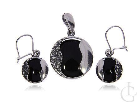 Biżuteria ze srebra pr.0,925 kolczyki i zawieszka z onyksem