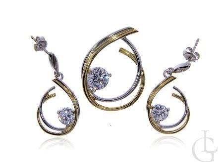 Komplet biżuterii kolczyki wisiorek srebro rodowane i pozłacane pr.0,925 cyrkonie