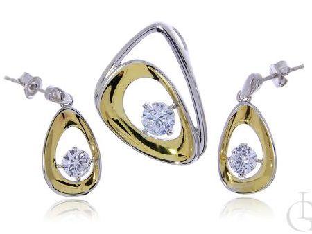 Komplet biżuterii ze srebra rodowanego i pozłacanego pr.0,925