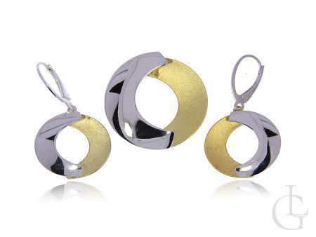 Komplet biżuterii damskiej ze srebra rodowanego i pozłacanego pr.0,925 wiszące kolczyki i zawieszka