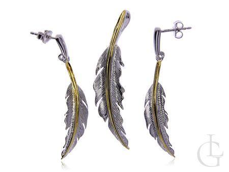 Kolczyki i wisior srebro rodowane i pozłacane pr.0,925 pióra