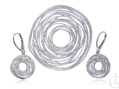 Ciekawy komplet biżuterii damskiej ze srebra rodowanego pr.0,925