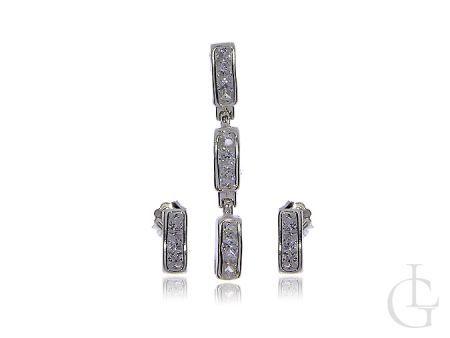 Komplet srebrnej biżuterii pr.0,925 kolczyki wisiorek z cyrkoniami