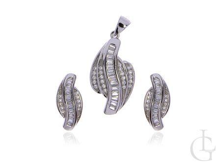 Biżuteria srebrna pr.0,925 kolczyki zawieszka z cyrkoniami