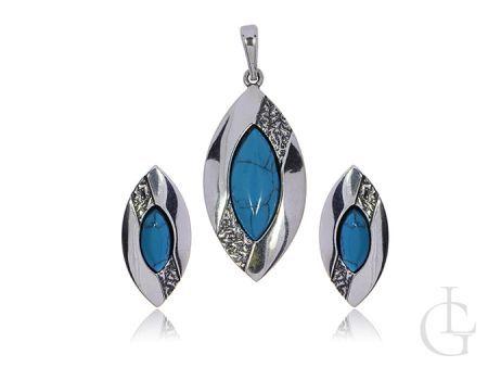 Biżuteria srebrna pr.0,925 kolczyki na sztyfty i wisiorek z turkusem