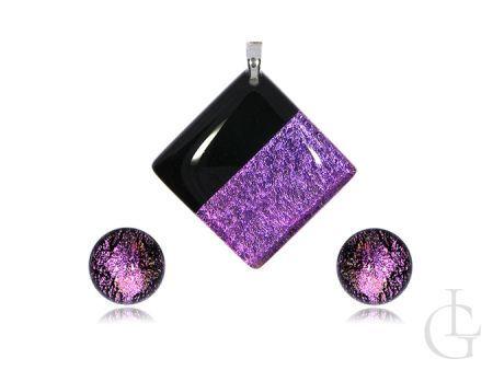 Komplet biżuterii ze srebra pr.0,925 kolczyki sztyfty wisior szkło weneckie MURANO GLASS