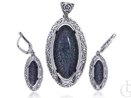 Komplet biżuterii kolczyki i wisior z cudownie mieniącą się masą perłową