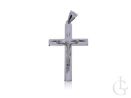 Krzyżyk ze srebra rodowanego pr.0,925 z wizerunkiem Jezusa na prezent