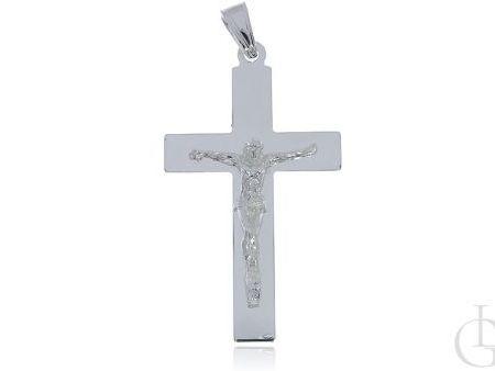 Duży krzyż ze srebra pr.0,925 z wizerunkiem Jezusa ukrzyżowanego