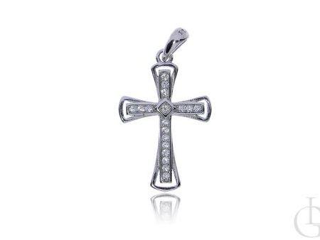 Delikatny krzyżyk ze srebra rodowanego pr.0,925 z cyrkoniami