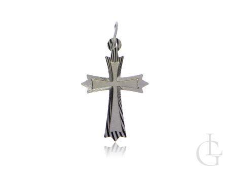 Krzyżyk ze srebra rodowanego pr.0,925 diamentowane wykończenie