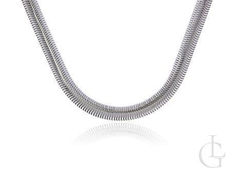 Szeroki łańcuszek ze srebra pr.0,925 o splocie półokrągłej taśmy