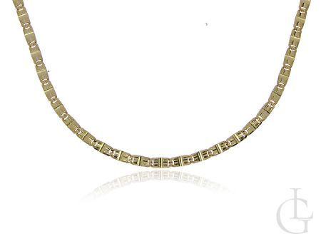 Złoty łańcuszek damski pr.0,585 o ciekawym pełnym splocie