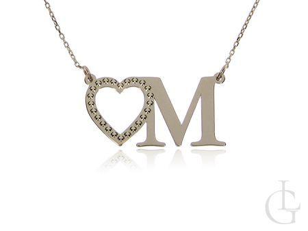Złoty naszyjnik pr.0,585 z literką M i serduszkiem celebrytka z inicjałem łańcuszek