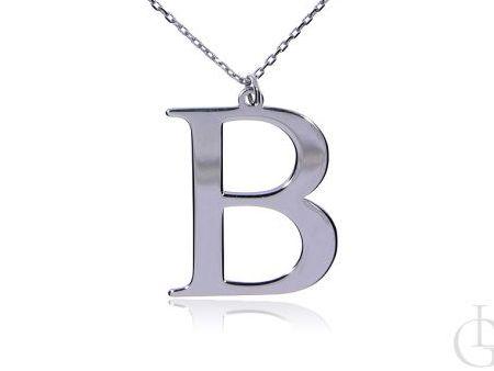 B jak Beata, Bożena, Basia  celebrytka, naszyjnik, łańcuszek z literą B srebro rodowane