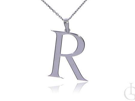 R jak Renata, Róża, Roma, Roksana, Regina naszyjnik łańcuszek celebrytka srebro rodowane pr.0,925