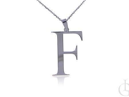 F jak Franka Faustyna Felicja celebrytka srebro rodowane pr.0,925 z literą prezent