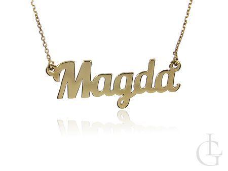 Magda celebrytka naszyjnik łańcuszek z imieniem ze srebra pozłacanego pr.0,925