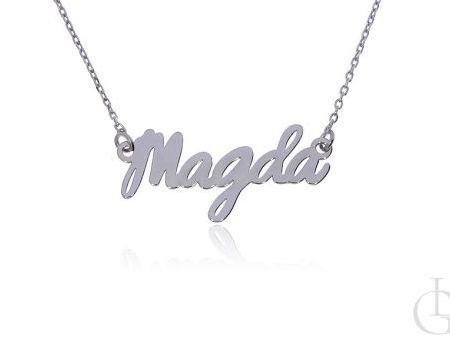 Magda naszyjnik celebrytka łańcuszek z imieniem srebro rodowane pr.0,925
